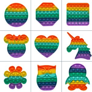 Rainbow Push Bubble Fidget Sensory Toy Unicorn Owl Penguin Autism Special Needs Anxiety Stress Reliever for Office Workers Fluorescence