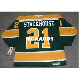 001 # 21 RON Stackhouse California Golden Seals 1970 CCM Vintage Retro Hockey Jersey или пользовательское имя или номер ретро Джерси