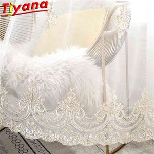 Luxury Embroidered Tulle Curtain for Living Room Flower Rope Embroidery Yarn Window Drapes for Bedroom X-HM408#HS 210831