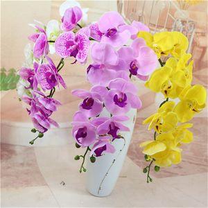 Flor de seda Polilla artificial Orquídea Orquídea Orquídea para el hogar Festival de boda Decoración Inmortal Phalaenopsis Flores artificiales al por mayor