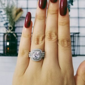 2021 new design Luxury 3 pcs 3 in 1 925 sterling Silver Ring cushion Engagement Wedding Ring set for Women bridal jewelry R4308