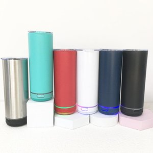 Water Bottles 500ml White Sublimation Straight Speaker Tumbler Music Vacuum Cup Stainless Steel Wireless For Christmas Gifts
