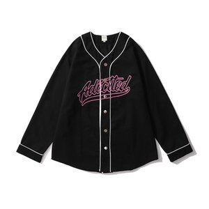 Letter Embroidery Baseball Shirt Mens V Neck Oversize Streetwear Casual Couple Tops Single Breasted Loose Shirts