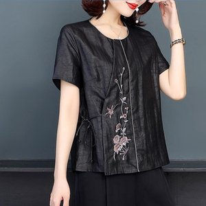 Women's Blouses & Shirts Vintage Embroidery Plus Size Lace-up Summer Short Sleeve Round Neck Elegant Ladies Casual Top L-4XL