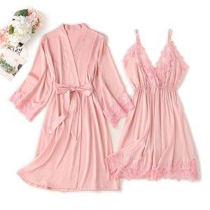 Women's Pajamas Sets Sexy V-neck Nightingale Satin Robe Homewear Badjas + Mini Night Nightwear Pak