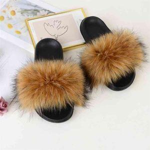 Faux Fur Slides Furry Slipper Women Summer Shoes Sandals Ladies Fluffy Slides Wholesale Designer Fashion Luxury Plush Flip Flops 210915