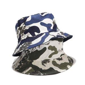 Camo Kova Şapka Erkekler Kadın Moda Pamuk Döner Bob Kapaklar Panama Güneş Balıkçı Şapka