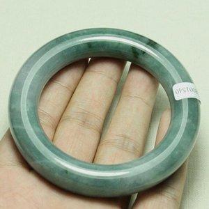 58mm Sertifikalı (Sınıf A) Doğal Yeşil Jadeit Yeşim Bilezik Bileklik