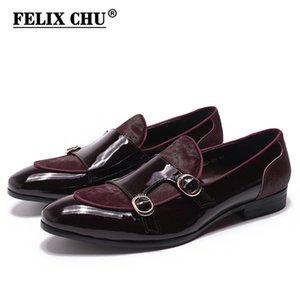Felix Chu Erkek Düğün Loafer'lar Beyler Ziyafet Parti Elbise Ayakkabı Patent Deri At Saç Ile Rahat Keşiş Kayış Erkek Ayakkabı 210312