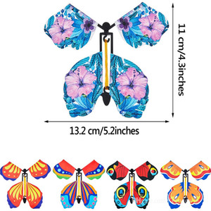 Magic Flying Butterfly Card Surprise for Explosion Box Insert Paper Flying Anti-Stres Wind Up Butterflies Toys for Girl Valentine's Day Gift