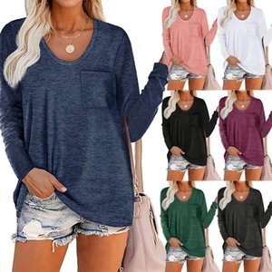 T-shirts Fashion Long Sleeves Solid Round Neck T-shirt Autumn Spring Shirts Tops Outwear Home Clothing 8 Colors CGY99