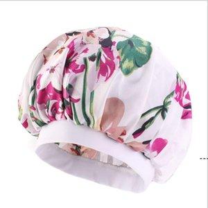 Nightcap Turban Floral Print 모자 머리는 터번 꽃 부드러운 편안한 모방 실크 패브릭 화학 요법 모자 BWC6419
