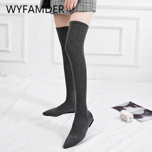 Wyfamder 2019 Stretch Socks Boots Otoño Moda puntiaguda Punta delgada Long Long Might High Boots Mujeres Punto Punto Plano Black Shoes WB27 M4ZK #
