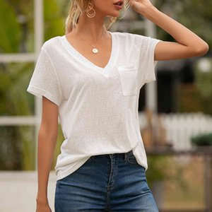 9 Colors Summer women T-Shirts Solid Color Tops 3x 4x 5x Womens V-neck Pocket Casual Loose Short Sleeve T-Shirt S-5XL
