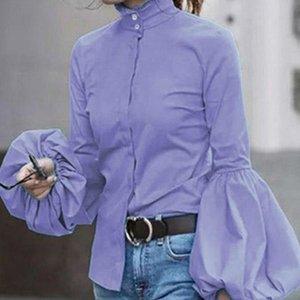 2021 Новая блузка женские рубашки сплошные плюс размер 3XL отдельная грудью.