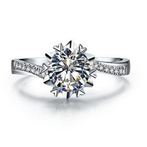 Cluster Rings Fine Jewelry Snowflake Ring 0.5Ct Marriage Diamond For Women Platinum 950