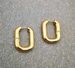 Designer Huggie des boucles d&#39oreilles woman earings Gold hoop oval metal earrings ladies simple personality luxury jewelry