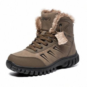 AGUTZM Winter Mens Boots Outdoor Warm Waterproof Non Slip Snow Boot Thick Plush Rubber Winter Ankle Boots Large Size 39 48 A352 F66N#