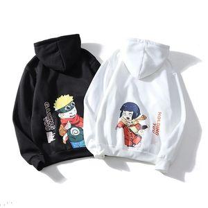 Harajuku Naruto Hinata Унисекс толстовки пара носить японское аниме напечатанные мужские капюшоны мужская улица мода повседневные кофты 201128