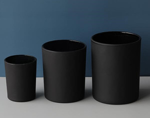 대나무 뚜껑 왁스 크림 촛불 컨테이너 스토리지 촛불 왁스 용기 jar 홀더와 50g 무광택 검은 유리 컵