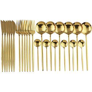 24 pcs conjunto de utensílios de mesa de ouro de aço inoxidável conjunto faca faca garfo colher talheres seguros cutelaria conjunto presente