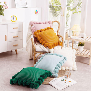 Ball Cushion Cover Vintage Yellow Ivory Pink Green Pillow Cover Knit 45cm*45cm Zip Open Home Decoration Sofa Bed EWD4873
