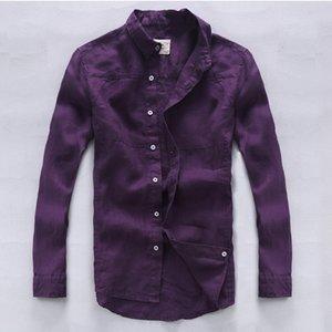 2021 Neue Italien Marke Leinen Qualitätsmode Hemden Flachs Langarm Lässige Männer Hemd Exquisite Verarbeitung Lila Chemise FDKH