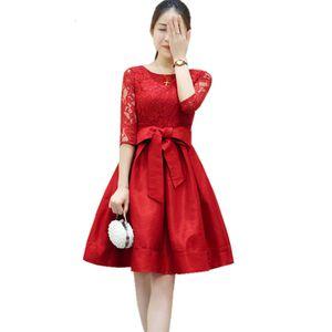 2021 New Ladies Bow-knot Robe Femme Summer Es Hollow Black Lace Plus Size Clothing Half Sleeve Slim Women's Esfyy422 1zhq