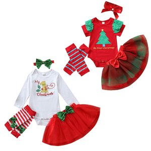 kids Clothing Sets girls Christmas Tree outfits children letter Tops+Mesh skirts+kneepad+Bow Headband 4pcs set Spring Autumn summer fashion baby Xmas Clothes Z3586