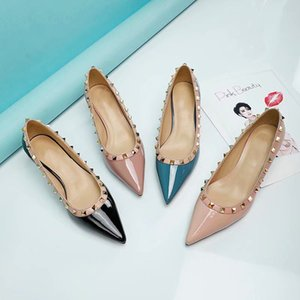 2021 Sıcak Satış Moda Kadın Tasarımcı Sivri Yüksek Topuklu Deri Kadın Ayakkabı Dantel-up Perçin Elbise Ayakkabı Elbise Kutusu Ile Yüksek Kalite