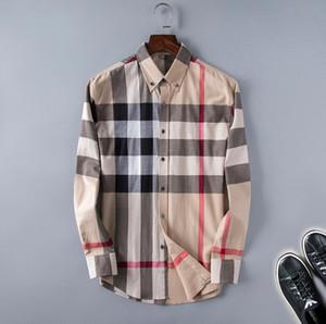 Brand maschile business casual camicia da uomo manica lunga a maniche lunghe a strisce slim fit camisa masculina camicie maschili sociali nuovo stile di moda camicia plaid # 66