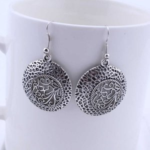 women's hollow round Tibetan silver Charm earrings GSTQE027 fashion gift national style women DIY earring