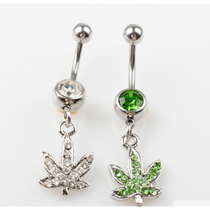 D0390 ( 2 Colors ) Stainless Steel Body Piercing Jewelry Belly Button Navel Rings Dangle Charm Maple Leaf Ss 10pcs Wzykw