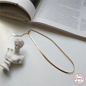 Canner 925 Sterling Silber Halskette Gold Farbe Flache Schlange Choker Halskette Für Frauen Schmuck Geschenk