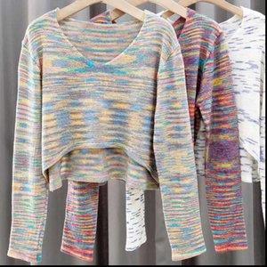 Pulls de pulls décontractés doux Pulls de cultures tricotées Tops Femmes manches pleines O cou