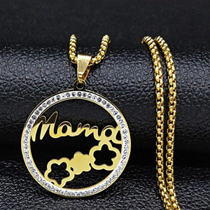 2021 New Fashion MAMA Flower Crystal Stainless Steel Necklaces for Women Gold Color Small Necklace Jewerly joyas N23S01