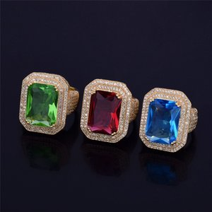 Unisex Men Women Fashion Ring Top Quality Gold Plated Big Square CZ Diamond Ring for Party Wedding Nice Gift for Friends