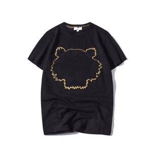 Erkek T Shirt ile Kaplan Bilmeci Embroidery Kısa Kollu Nefes Tees Hip Hop Street TOP Unisex Tişörtleri Giyer