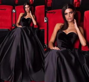 Nouvelle mode élégante plus taille noire robes de soirée robes de fête chérie velours satin de sol satin longueur de sol formelle robe de bal