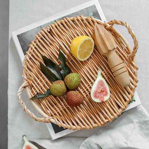 2pcs 등나무 둥근 과일 트레이 핸들 스토리지 트레이 조식 테이블 스토리지 바구니 목가적 인 등나무 빵