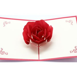 NEW3D Rose Greeting Cards Valentines Day Greetings Card Creative Handmade Valentine Days Gifts for Women EWA6247