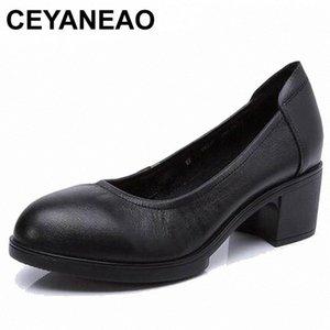 Ceyaneao 2019 donne in vera pelle tacchi alti pompe femminili OL comodità di lavoro nero comodo 34-41E1927 x1GF #