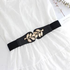 Sello de la cintura de la hoja Forme elástico Cummerbunds de la aleación de oro de las hojas de la aleación de oro Cinturones elásticos para la capa de vestir Decorar la niña