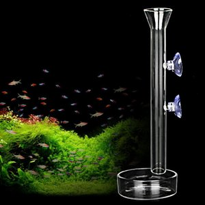 Glass feeder food tank aquarium accessories underwater submersible 45cm height deep barrel pipe in water to feed fish bowl
