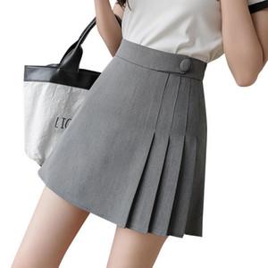 Frühling Sommer Mini Röcke für Frauen Hohe Taille Dünne Koreanische Plissee Shorts Röcke Schule Uniform Schwarz Grey Kawaii Faldas Mujer