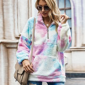 2021 New Fashion Women Tie-dye Print Sweatshirt Autumn Winter Long Sleeve Patchwork Pullovers Girls Fleece Warm Hoodies Sweatshirts 291v