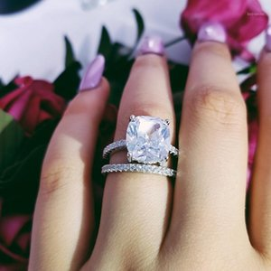 925 Sterling silver wedding Rings set 3 in 1 band ring for Women engagement bridal fashion jewelry finger moonso R46281