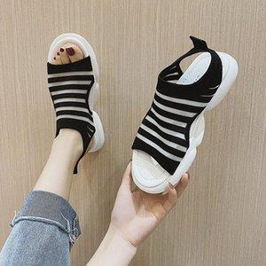 Sandals 2021 Summer Female Sandal Fashion Womens Shoes Strappy Heels Girls Luxury Sports Comfort Low Velvet Flat Elastic Band
