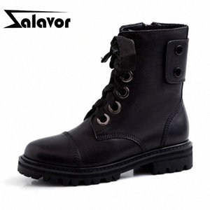 ZALAVOR Women Daily Casual Work Genuine Leather Motorcycle Boots Fashion Zipper Flats Shoes Woman Female Botas Size 34 40 Football Boo y8Lv#