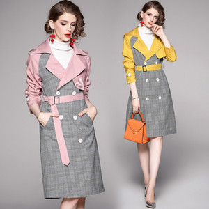 2021 New Autumn Patchwork Double-breasted Plaid Trench Coat Women Sleeve Notched Vintage Long Overcoat Windbreaker with Belt QEBZ